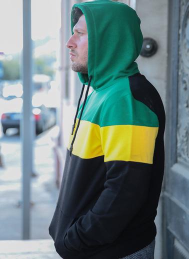 XHAN Somon &  Sarı Üç Renkli Sweatshirt 1Kxe8-44318-21 Siyah